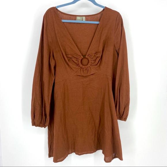 ASOS balloon sleeve ring brown red dress